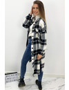 BLACK - 'ALINAH' - MAXI CHECKED COAT