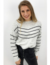 GREY - 'MORGAN' - SOFT TOUCH STRIPED KNIT SWEATER