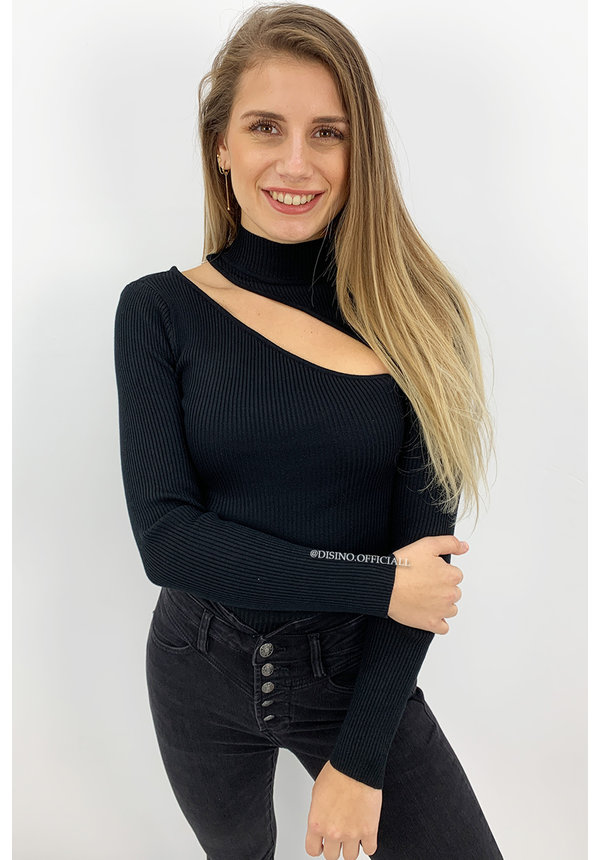 BLACK - 'ASMARA TOP' - RIBBED MAXI CUT OUT TOP