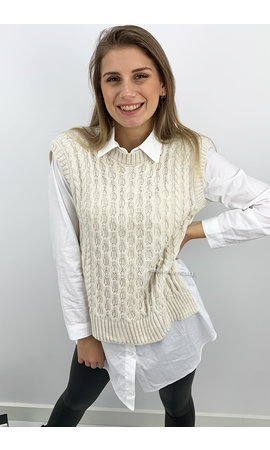 CREME - 'SASHA V2' - SPLITTED CABLE KNIT SPENCER