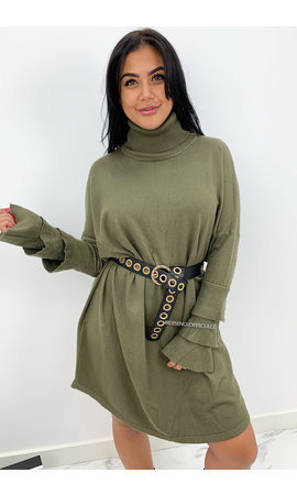 KHAKI GREEN - 'EVY TRUMPET' - OVERSIZED COMFY COL SWEATER DRESS