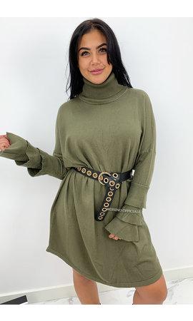 KHAKI GREEN - 'EVY TRUMPET' - OVERSIZED COMFY COL SWEATER DRESS