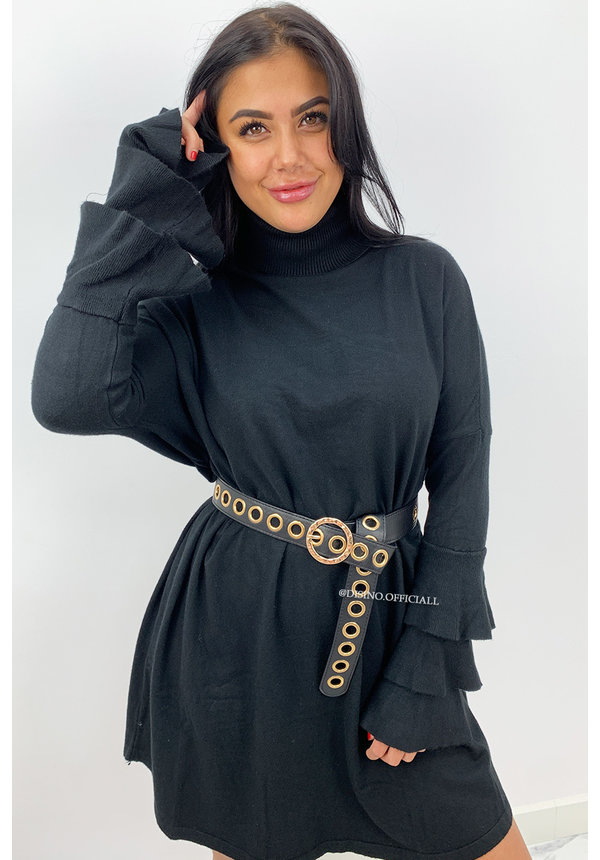 BLACK - 'EVY TRUMPET' - OVERSIZED COMFY COL SWEATER DRESS