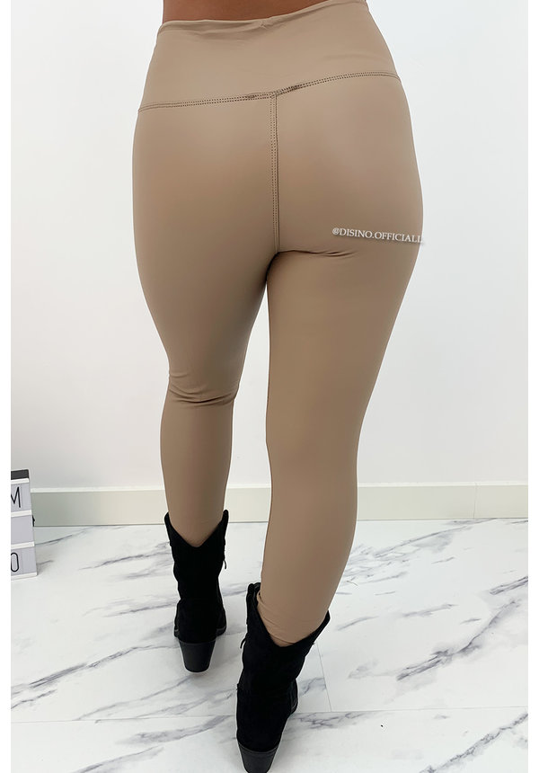 BEIGE - 'ESMERALDA' - LEATHER LOOK LEGGING HIGH WAIST PANTS