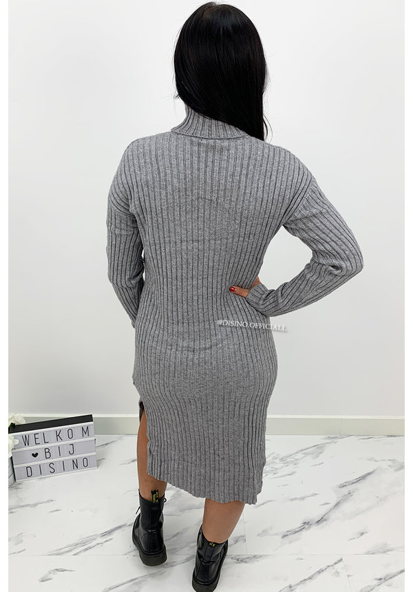 GREY - 'KAYA' - SUPER COMFY RIBBED SPLIT COL DRESS