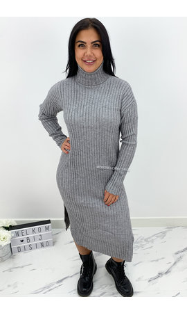 GREY - 'KAYA' - SUPER COMFY RIBBED SPLIT COL DRESS