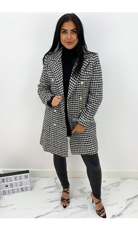 BLACK - 'CECILIA LONG' - PREMIUM QUALITY CHECKERED COAT
