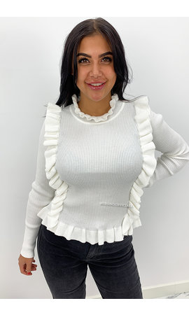 WHITE - 'MILOU' - RIBBED RUFFLE TOP