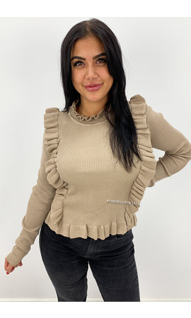 BEIGE - 'MILOU' - RIBBED RUFFLE TOP