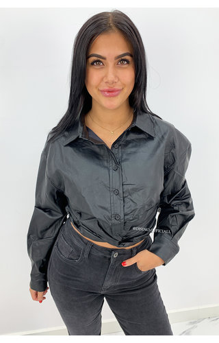 BLACK - 'CARMEN' - VEGAN LEATHER CROP BLOUSE