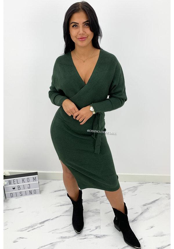 KHAKI GREEN - 'ZIVA' - PREMIUM QUALITY V DRESS