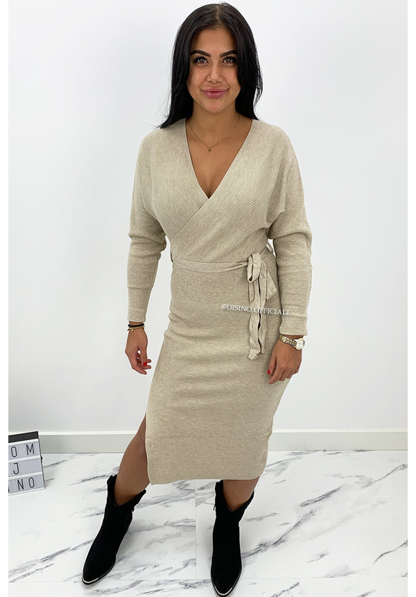 BEIGE - 'ZIVA' - PREMIUM QUALITY V DRESS