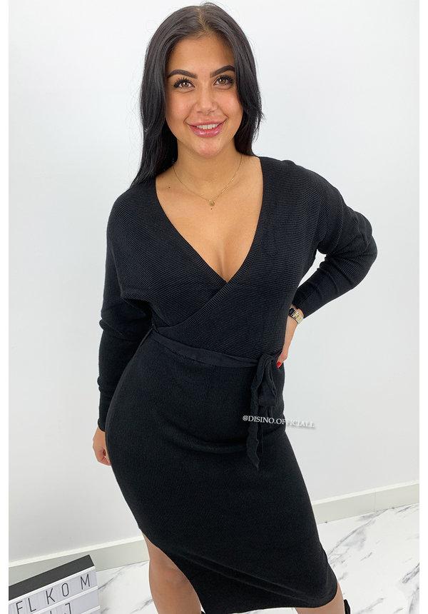 BLACK - 'ZIVA' - PREMIUM QUALITY V DRESS