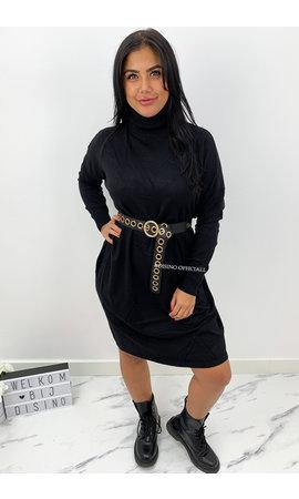 BLACK - 'CAIA' - SOFT TOUCH COMFY COL DRESS