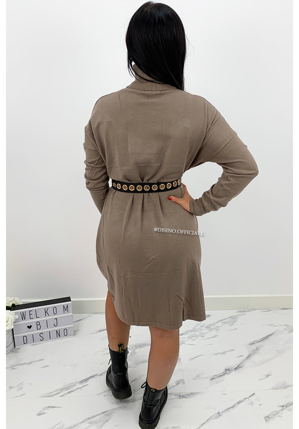BEIGE - 'CAIA' - SOFT TOUCH COMFY COL DRESS