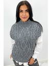 DARK GREY - 'NAEMI' - CABLE KNIT SPENCER