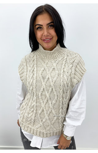 SAND - 'NAEMI' -  HIGH NECK CABLE KNIT SPENCER