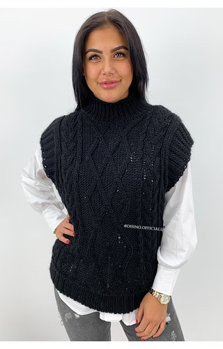 BLACK - 'NAEMI' -  HIGH NECK CABLE KNIT SPENCER