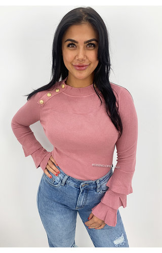 DUSTY PINK - 'VIVIAN' - SOFT TOUCH GOLD BUTTON TRUMPET SLEEVE TOP