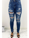 QUEEN HEARTS JEANS - MEDIUM BLUE - HIGH WAIST RIPPED SKINNY JEANS - 846