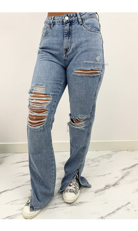 QUEEN HEART JEANS - WHITEWASH BLUE - RIPPED STRAIGHT SIDE SPLIT JEANS - 860