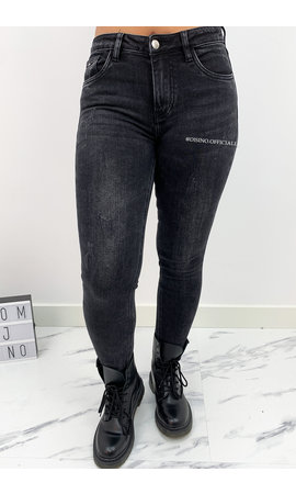 QUEEN HEARTS JEANS - BLACK DENIM - SKINNY JEANS HIGH WAIST - 667