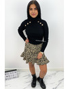 BLACK - 'LEO SISI' - SPARKLE LEO PRINT STRETCH RUFFLE SKIRT