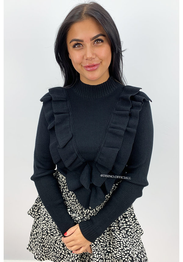 BLACK - 'LISELOT' - RIBBED RUFFLE TOP