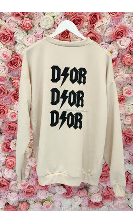 BEIGE - 'DIOR ON MY BACK' - INSPIRED OVERSIZED SWEATER