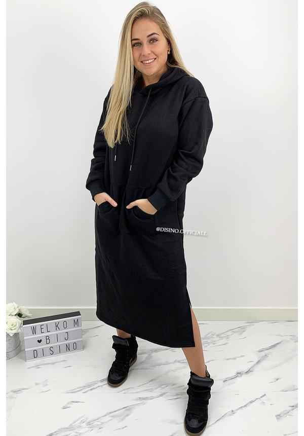 BLACK - 'ELENA MAXI' - COMFY LONG MAXI HOODIE