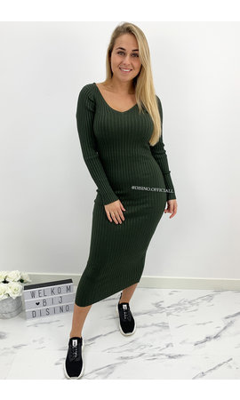 KHAKI GREEN - 'JAZZY' - MAXI RIBBED V-NECK DRESS
