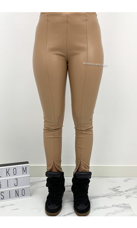 CAMEL - 'ZENIA' - VEGAN LEATHER FRONT SPLIT LEGGIN PANTS