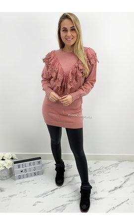 DUSTY PINK - 'MARIAH DRESS' - OVERSIZED PREMIUM QUALITY MESH RUFFLE SWEATER DRESS