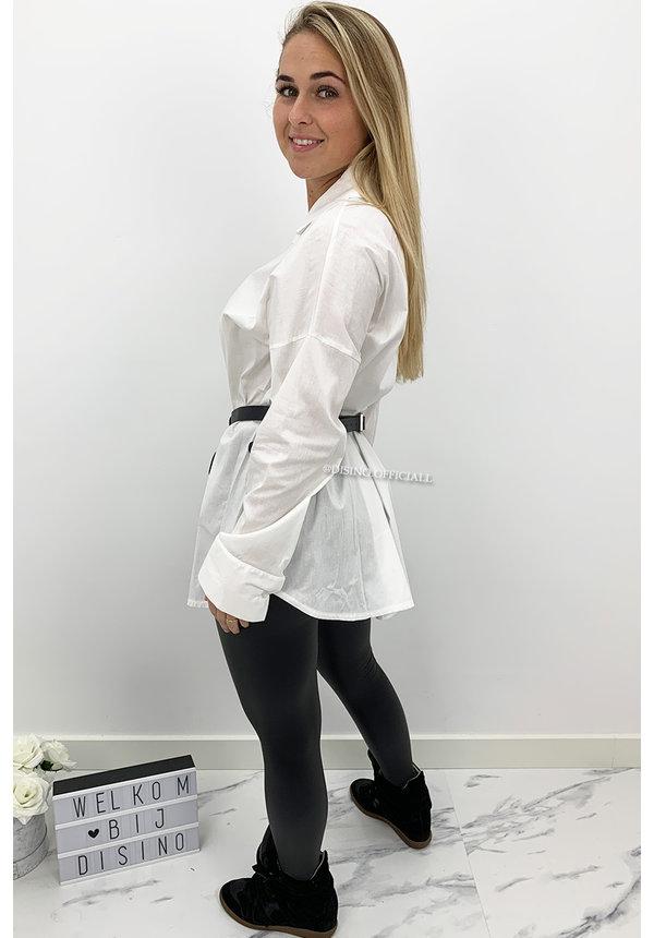WHITE - 'SARAI' - LONG OVERSIZED BLOUSE SHIRT
