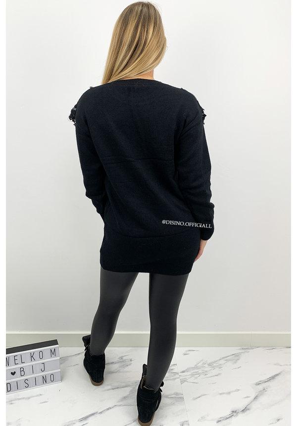 BLACK - 'MARIAH DRESS' - OVERSIZED PREMIUM QUALITY MESH RUFFLE SWEATER DRESS