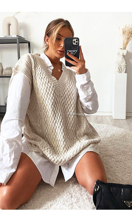 SAND - 'SELENE' - OVERSIZED V-NECK CABLE KNIT SPENCER DRESS