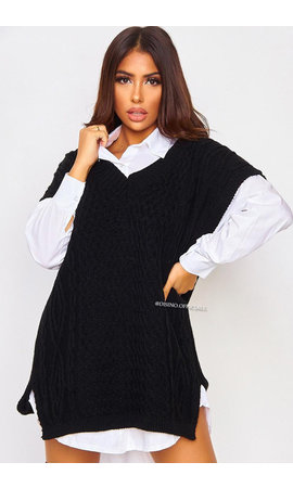 BLACK - 'SELENE' - OVERSIZED CABLE V-NECK SPENCER DRESS
