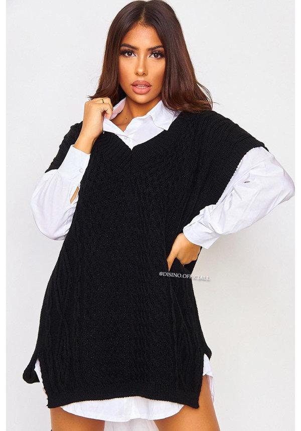 BLACK - 'SELENE' - OVERSIZED CABLE V-NECK SPENCER DRESS