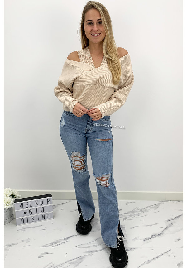SAND - 'WENDY' - PREMIUM QUALITY LACE KNIT SWEATER