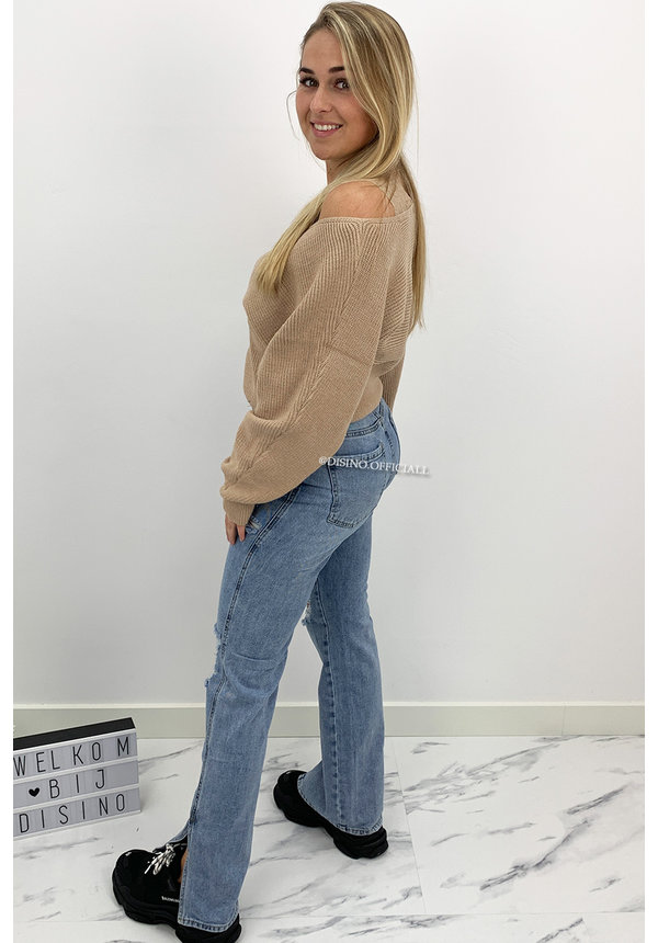 BEIGE - 'WENDY' - PREMIUM QUALITY LACE KNIT SWEATER