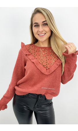 CORAL - 'LILLY' - SOFT TOUCH RUFFLE SWEATER