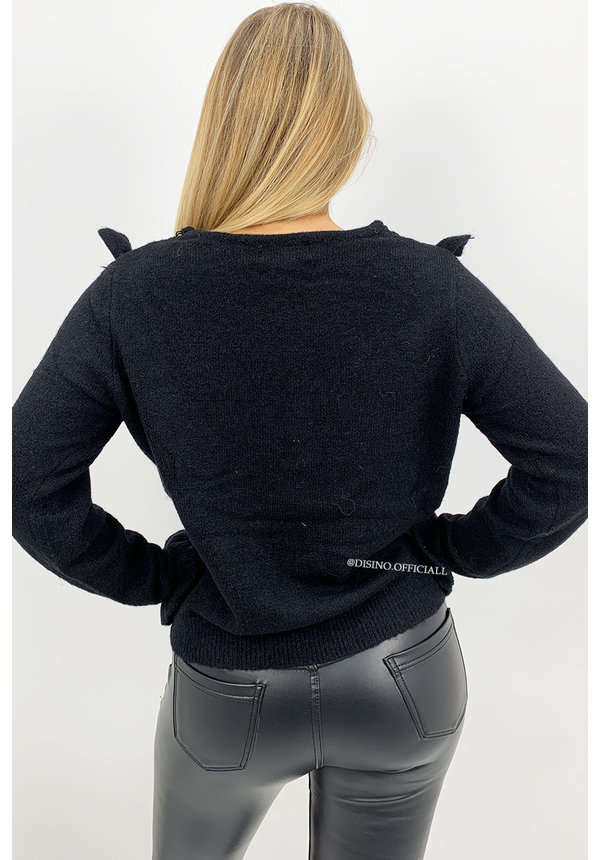 BLACK - 'LILLY' - SOFT TOUCH RUFFLE SWEATER