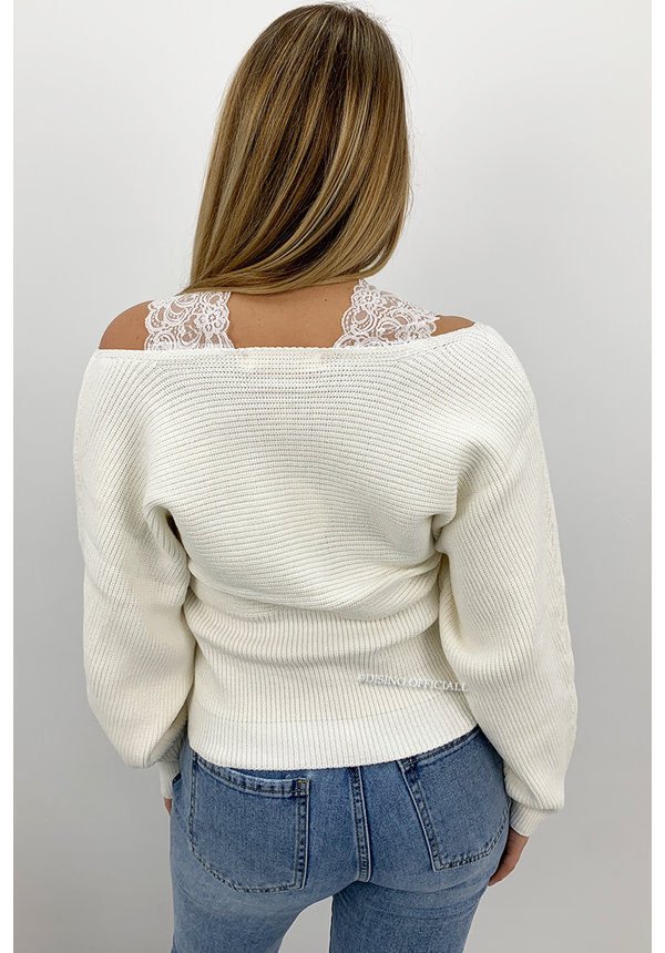 WHITE - 'WENDY' - PREMIUM QUALITY LACE KNIT SWEATER