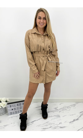 BEIGE - 'PERLA' - VEGAN LEATHER FRINGE DRESS