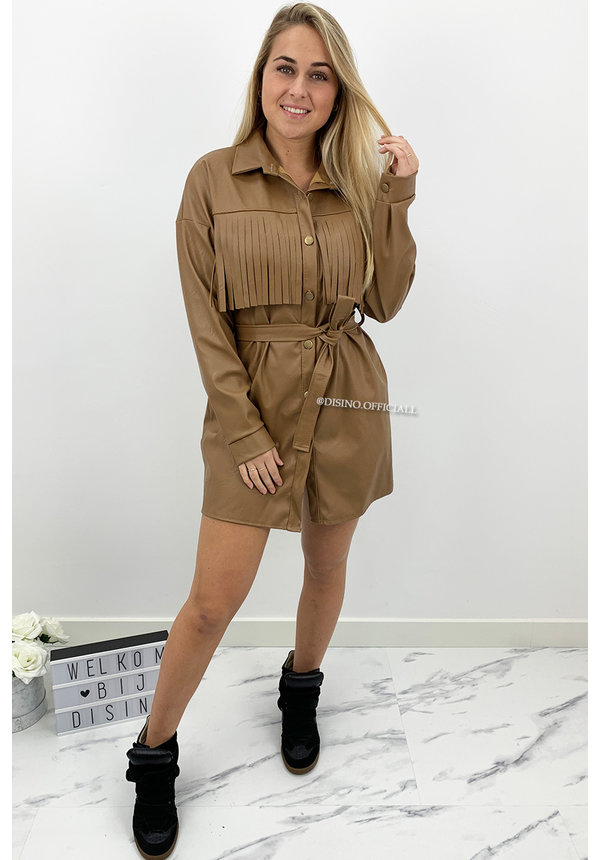 CAMEL - 'PERLA' - VEGAN LEATHER FRINGE DRESS