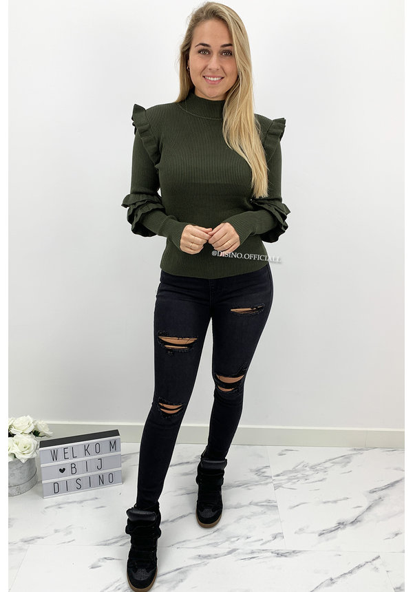 KHAKI GREEN - 'GIZELLE' - RIBBED RUFFLE TOP