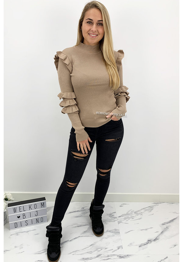 BEIGE - 'GIZELLE' - RIBBED RUFFLE TOP