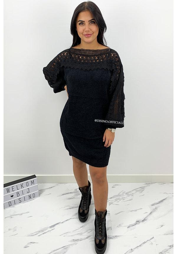 BLACK - 'CHARISSA' - PREMIUM QUALITY FLUFFY  LACE DRESS