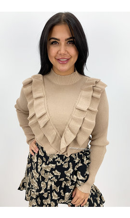 BEIGE - 'LISELOT' - RIBBED RUFFLE TOP