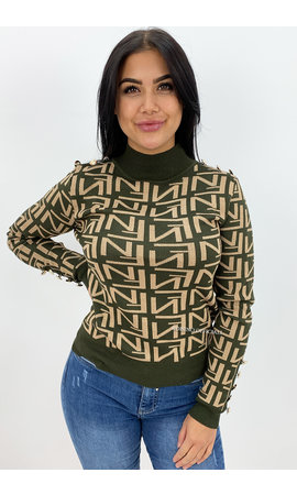 KHAKI GREEN - 'FENNITY SWEATER' - INSPIRED KNITTED SWEATER